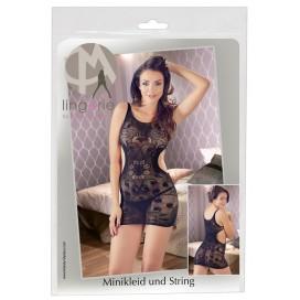 Mežģīņu kleita ar izgriezumiem melna S-L Mandy Mystery