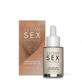Matu un ādas mirdzoša sausā eļļa Bijoux Indiscrets - Slow Sex