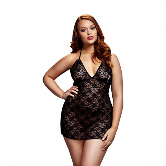 Baci - Black Lace Babydoll Queen Size
