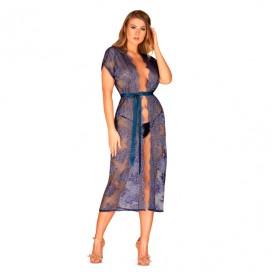 Zils garš halāts Flowlace Obsessive L/XL
